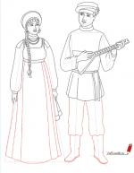 Русский мужской народный костюм рисунок – Как нарисовать русский народный костюм карандашом поэтапно