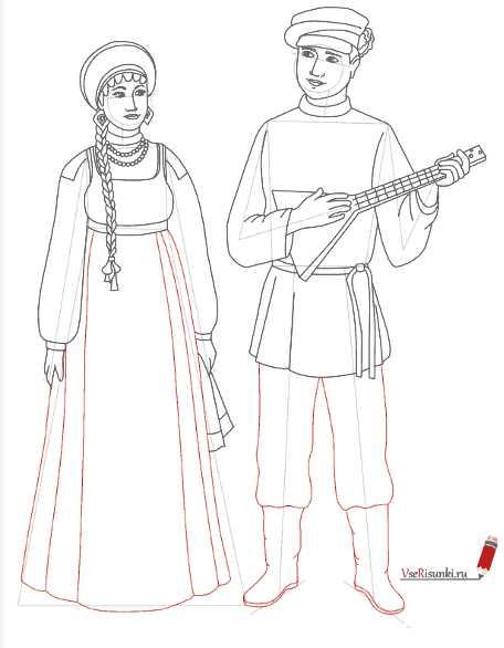 русский мужской народный костюм рисунок как нарисовать